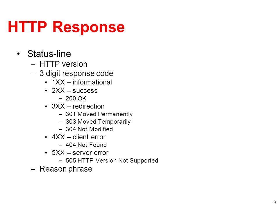 HTTP Response Status-line –HTTP version –3 digit response code 1XX – informational 2XX – success –200 OK 3XX – redirection –301 Moved Permanently –303