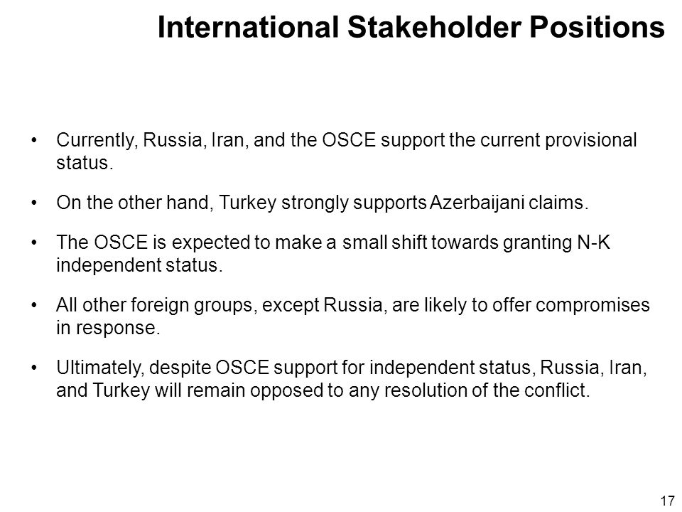 17 Currently, Russia, Iran, and the OSCE support the current provisional status.