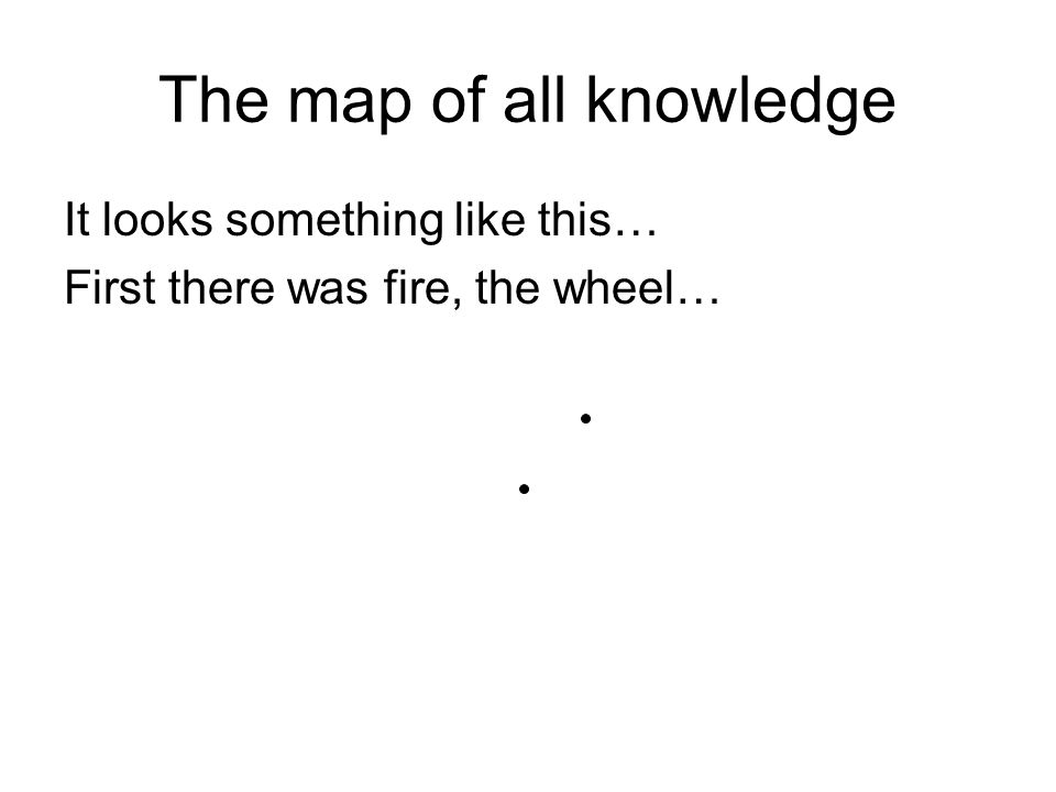 The map of all knowledge It looks something like this… First there was fire, the wheel…