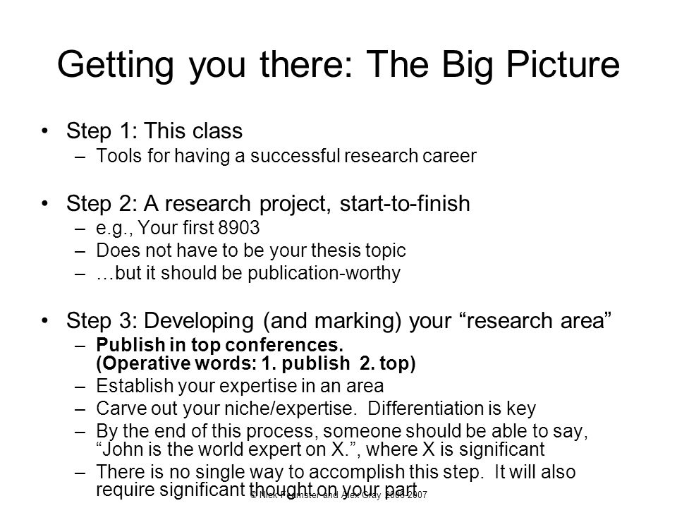 © Nick Feamster and Alex Gray 2006-2007 Getting you there: The Big Picture Step 1: This class –Tools for having a successful research career Step 2: A
