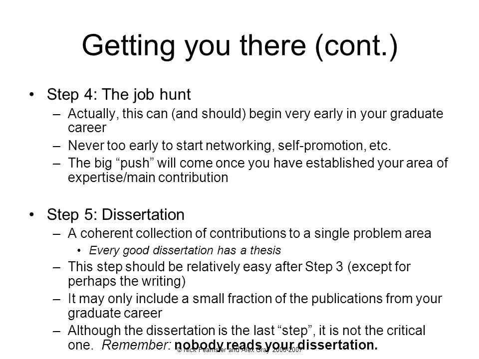 © Nick Feamster and Alex Gray 2006-2007 Getting you there (cont.) Step 4: The job hunt –Actually, this can (and should) begin very early in your gradu