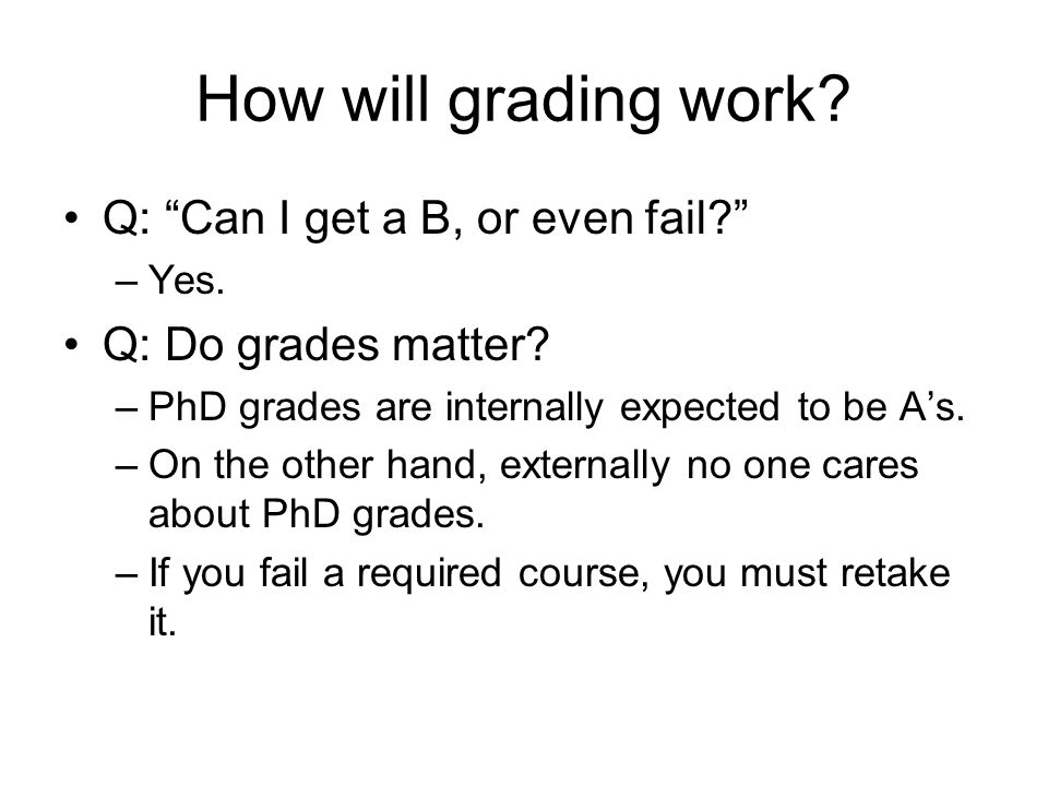 How will grading work. Q: Can I get a B, or even fail.
