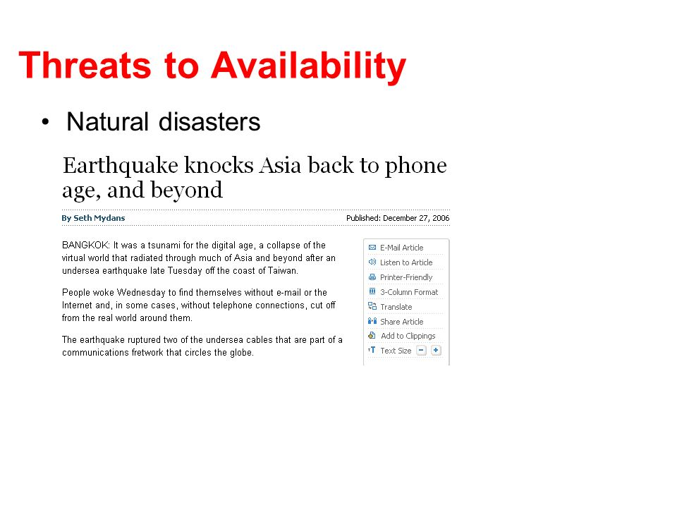 Threats to Availability Natural disasters
