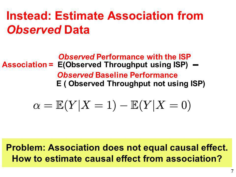 7 Association = E(Observed Throughput using ISP) E ( Observed Throughput not using ISP) Instead: Estimate Association from Observed Data Observed Base