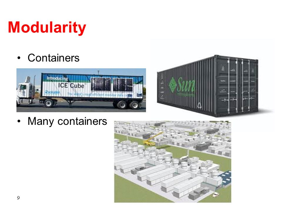 Modularity Containers Many containers 9