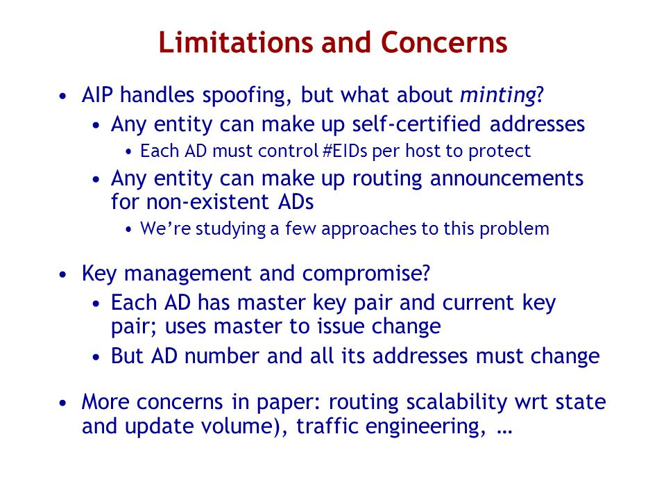 Limitations and Concerns AIP handles spoofing, but what about minting.