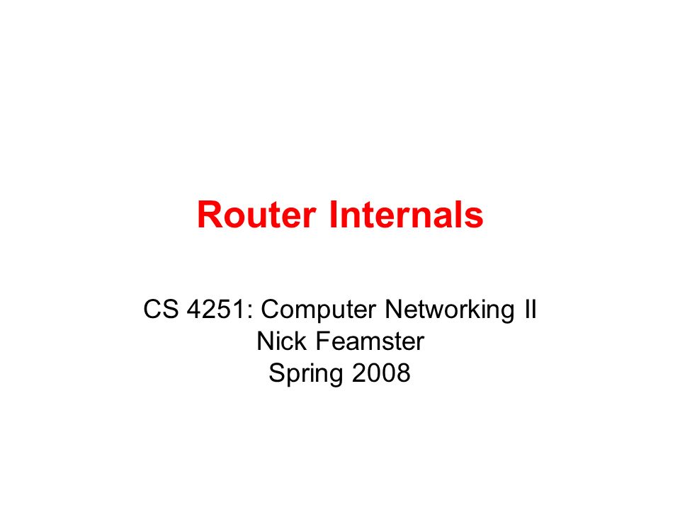Router Internals CS 4251: Computer Networking II Nick Feamster Spring 2008