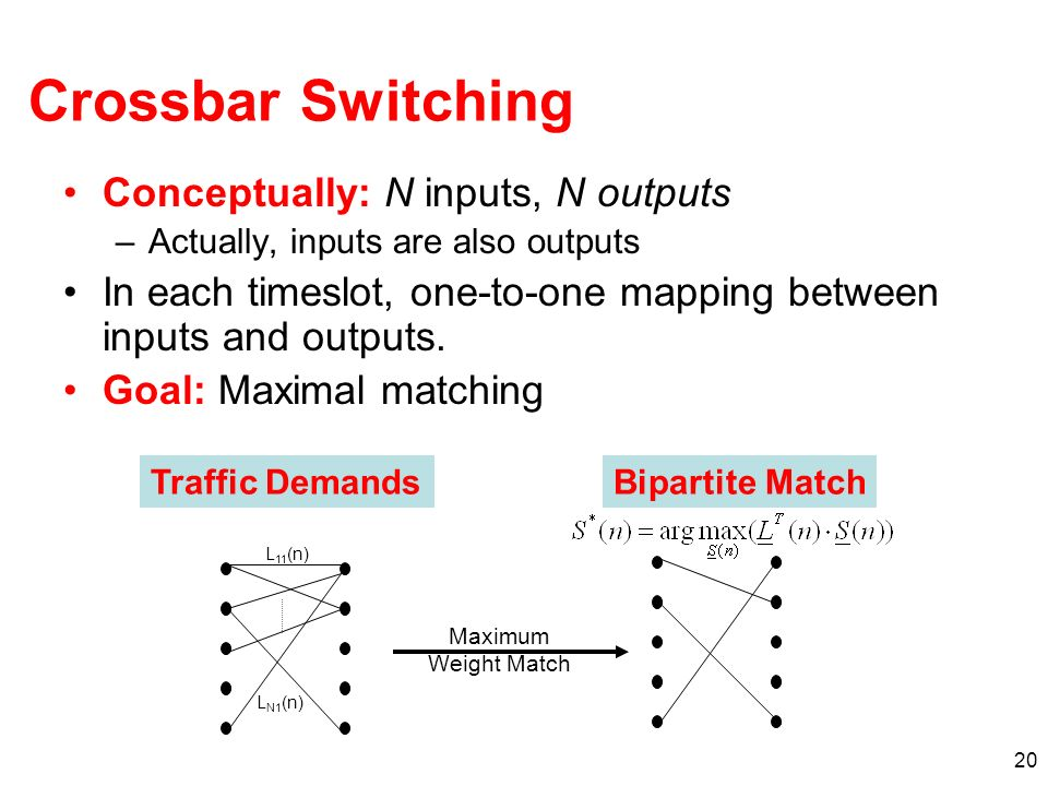 20 Crossbar Switching Conceptually: N inputs, N outputs –Actually, inputs are also outputs In each timeslot, one-to-one mapping between inputs and out