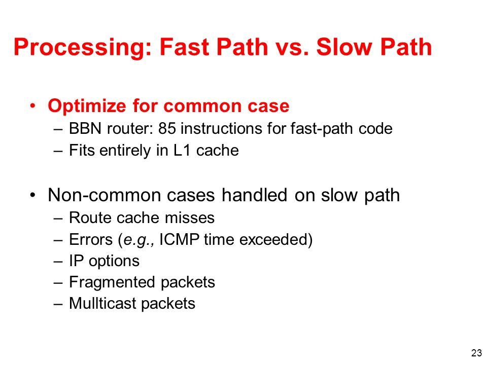 23 Processing: Fast Path vs. Slow Path Optimize for common case –BBN router: 85 instructions for fast-path code –Fits entirely in L1 cache Non-common