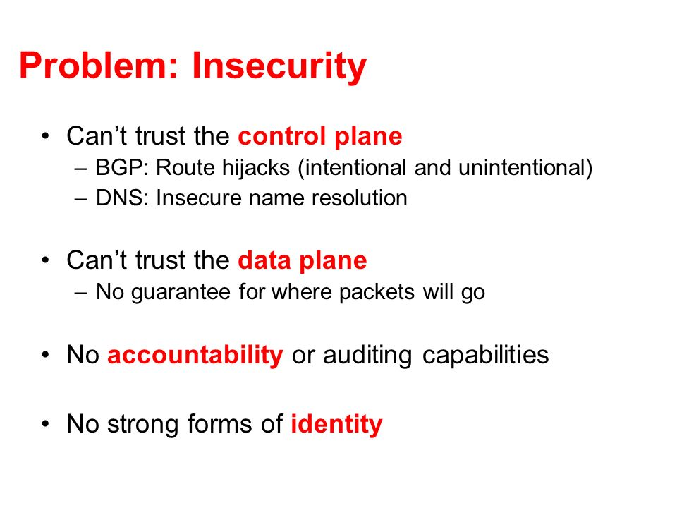 Problem: Insecurity Cant trust the control plane –BGP: Route hijacks (intentional and unintentional) –DNS: Insecure name resolution Cant trust the data plane –No guarantee for where packets will go No accountability or auditing capabilities No strong forms of identity