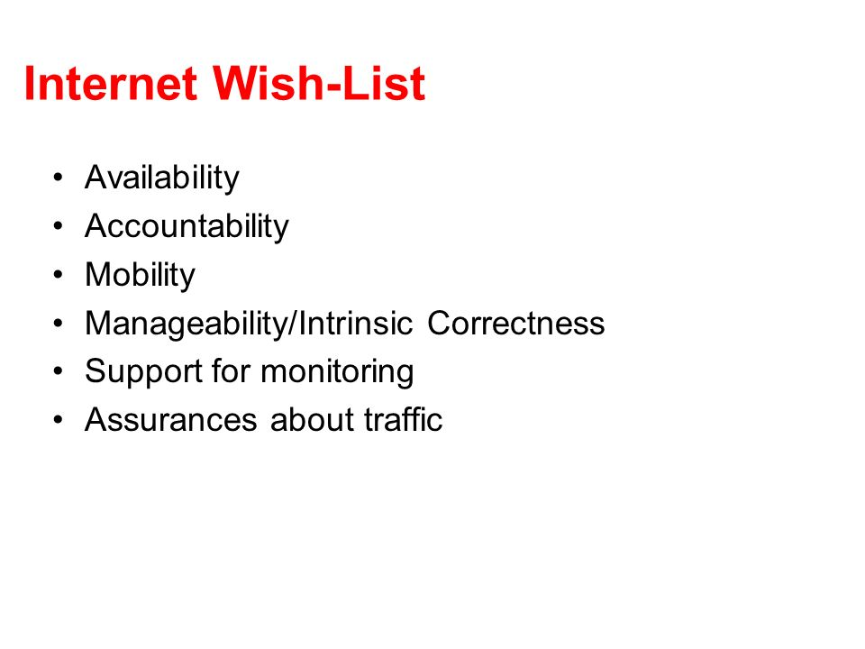Internet Wish-List Availability Accountability Mobility Manageability/Intrinsic Correctness Support for monitoring Assurances about traffic