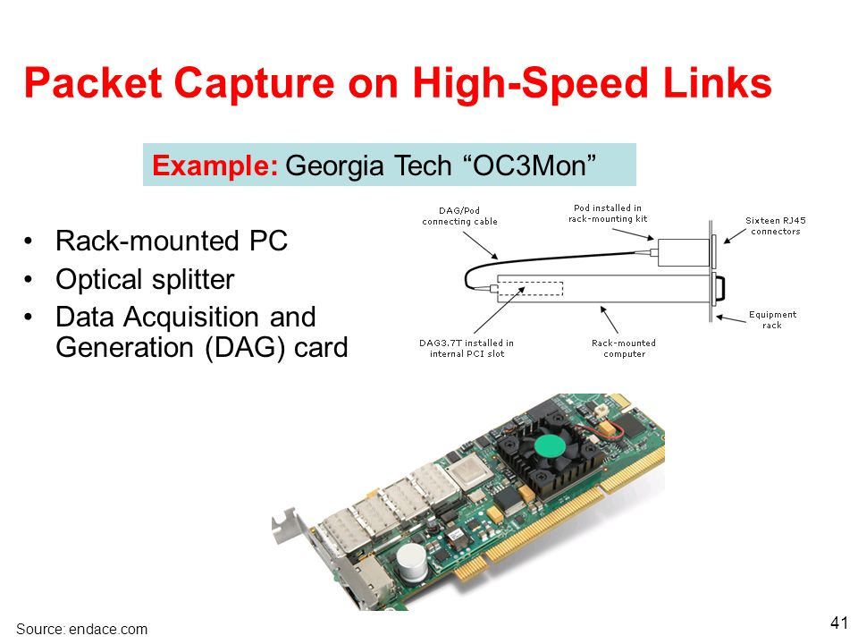 41 Packet Capture on High-Speed Links Example: Georgia Tech OC3Mon Rack-mounted PC Optical splitter Data Acquisition and Generation (DAG) card Source: