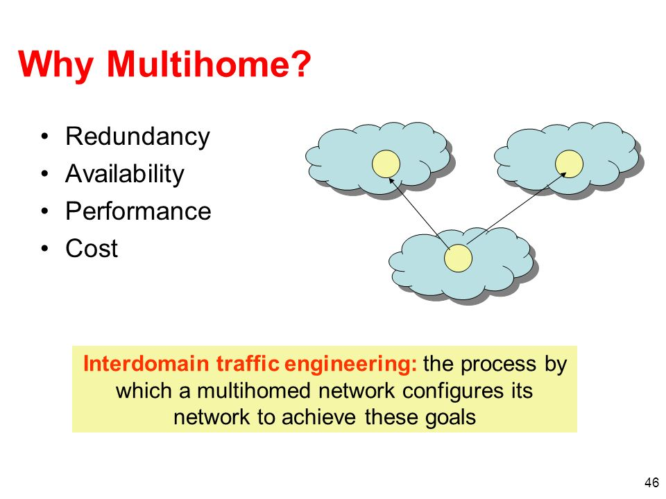 46 Why Multihome? Redundancy Availability Performance Cost Interdomain traffic engineering: the process by which a multihomed network configures its n
