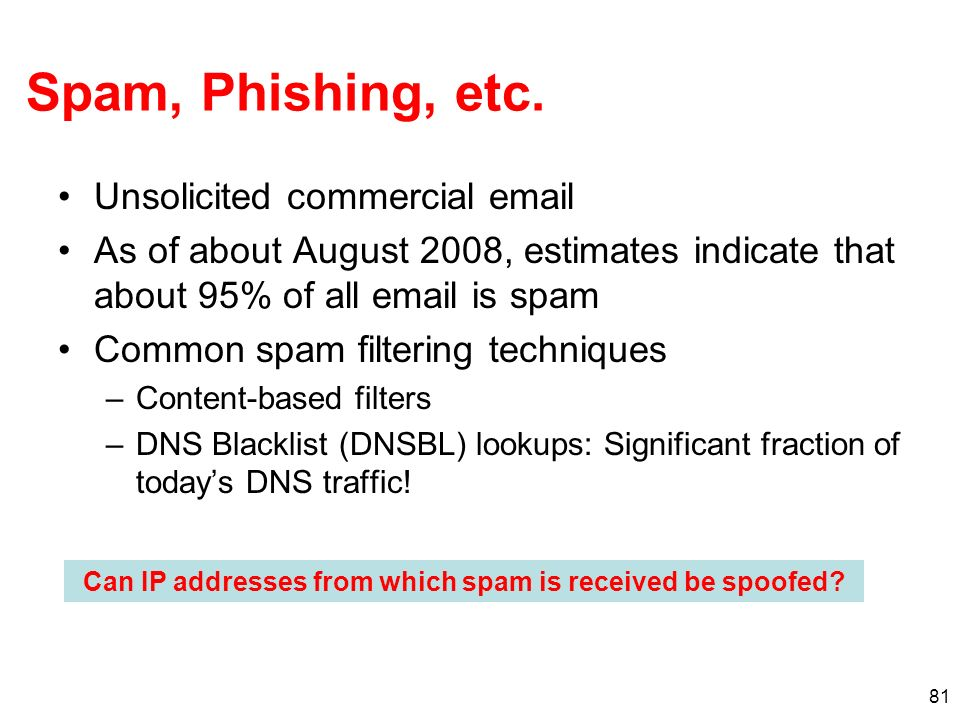 81 Spam, Phishing, etc. Unsolicited commercial email As of about August 2008, estimates indicate that about 95% of all email is spam Common spam filte