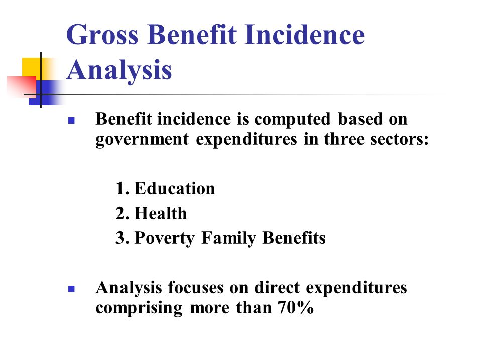 Gross Benefit Incidence Analysis Benefit incidence is computed based on government expenditures in three sectors: 1.