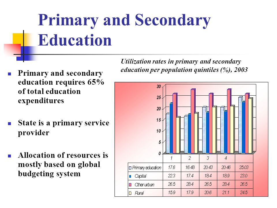 Primary and Secondary Education Primary and secondary education requires 65% of total education expenditures State is a primary service provider Allocation of resources is mostly based on global budgeting system Utilization rates in primary and secondary education per population quintiles (%), 2003
