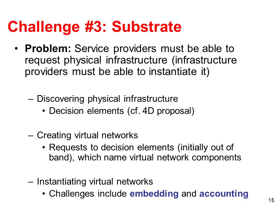 15 Challenge #3: Substrate Problem: Service providers must be able to request physical infrastructure (infrastructure providers must be able to instantiate it) –Discovering physical infrastructure Decision elements (cf.