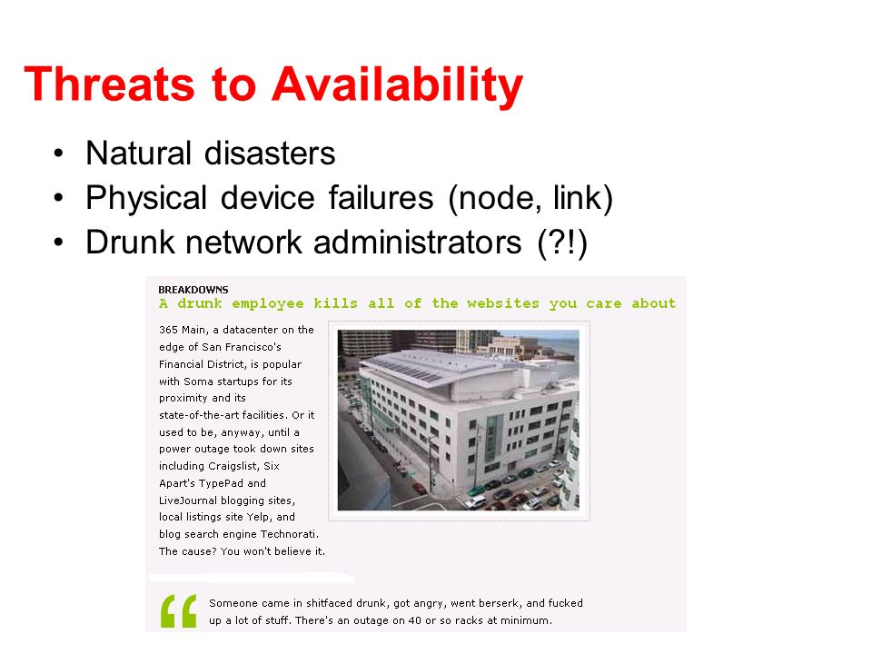 Threats to Availability Natural disasters Physical device failures (node, link) Drunk network administrators ( !)
