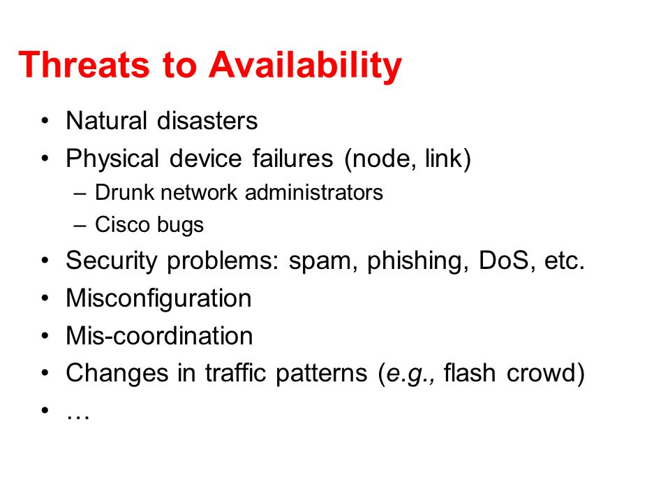 Threats to Availability Natural disasters Physical device failures (node, link) –Drunk network administrators –Cisco bugs Security problems: spam, phishing, DoS, etc.
