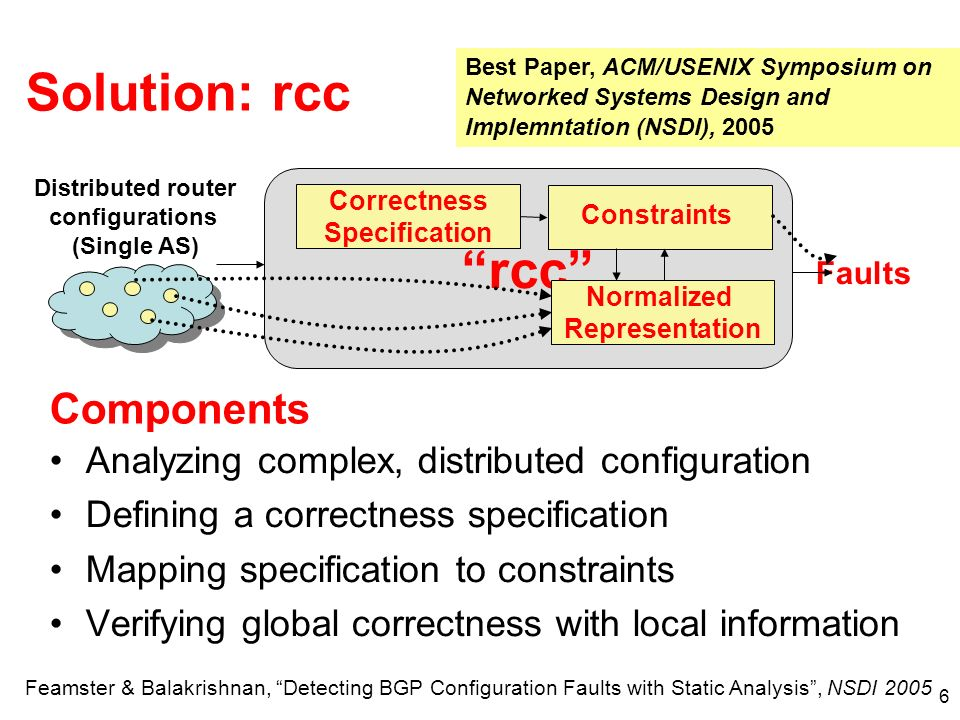 6 rcc Solution: rcc Normalized Representation Correctness Specification Constraints Faults Analyzing complex, distributed configuration Defining a correctness specification Mapping specification to constraints Verifying global correctness with local information Components Distributed router configurations (Single AS) Feamster & Balakrishnan, Detecting BGP Configuration Faults with Static Analysis, NSDI 2005 Best Paper, ACM/USENIX Symposium on Networked Systems Design and Implemntation (NSDI), 2005