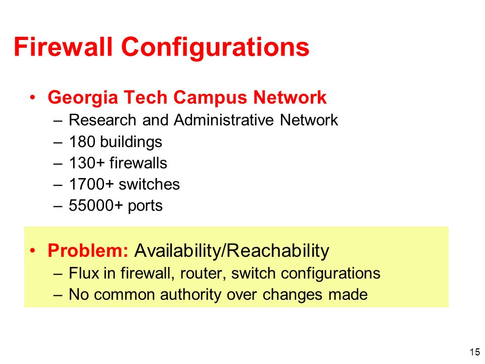 15 Firewall Configurations Georgia Tech Campus Network –Research and Administrative Network –180 buildings –130+ firewalls –1700+ switches –55000+ ports Problem: Availability/Reachability –Flux in firewall, router, switch configurations –No common authority over changes made