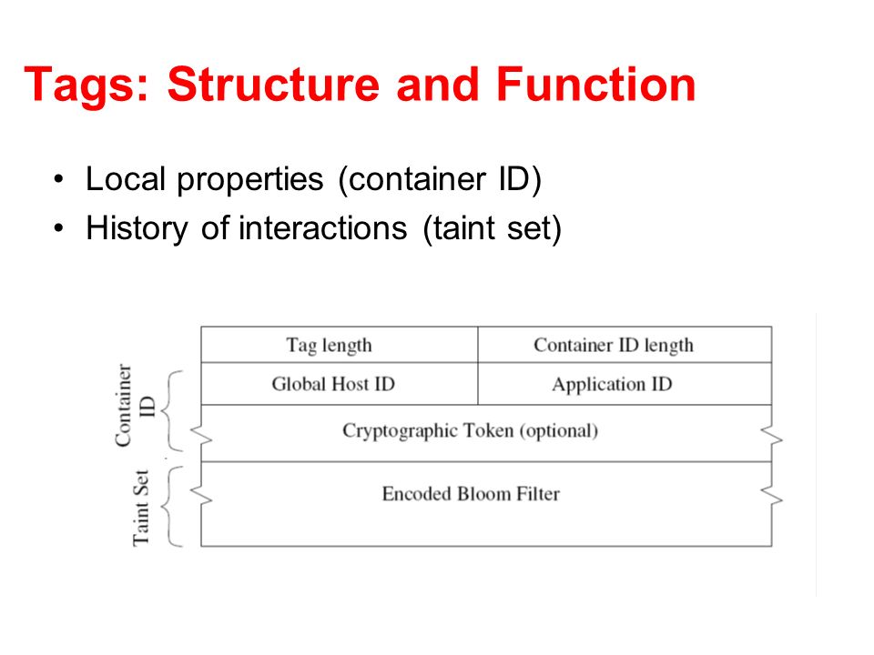 Tags: Structure and Function Local properties (container ID) History of interactions (taint set)