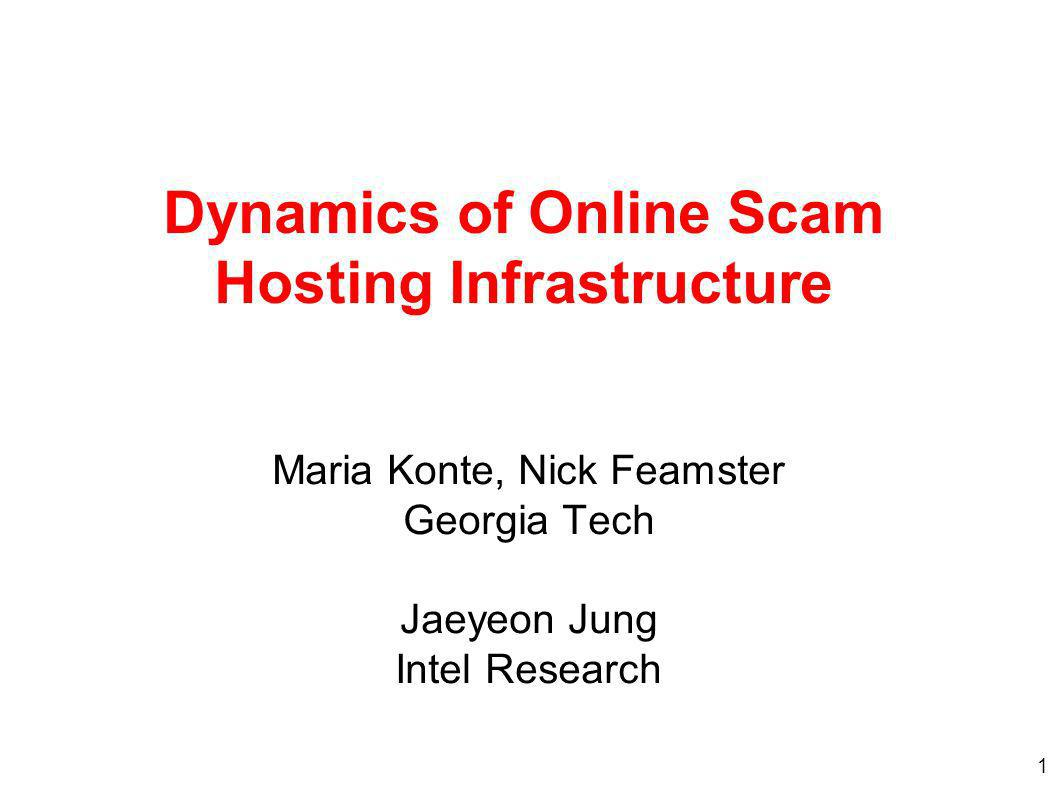 1 Dynamics of Online Scam Hosting Infrastructure Maria Konte, Nick Feamster Georgia Tech Jaeyeon Jung Intel Research