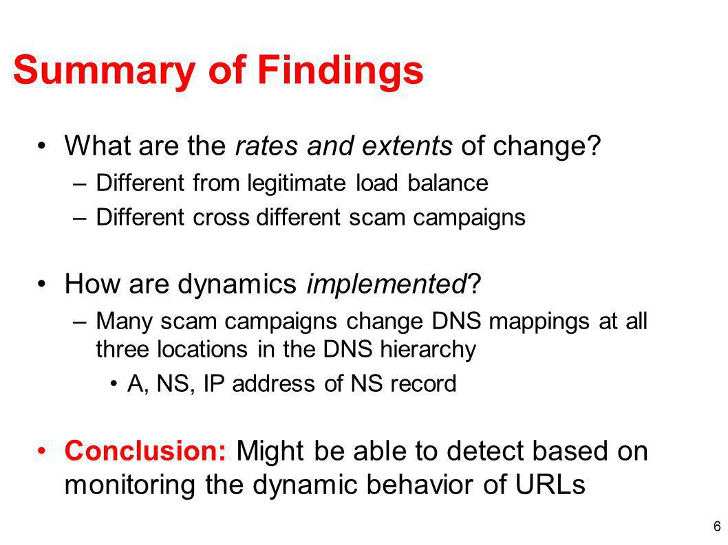 6 Summary of Findings What are the rates and extents of change.