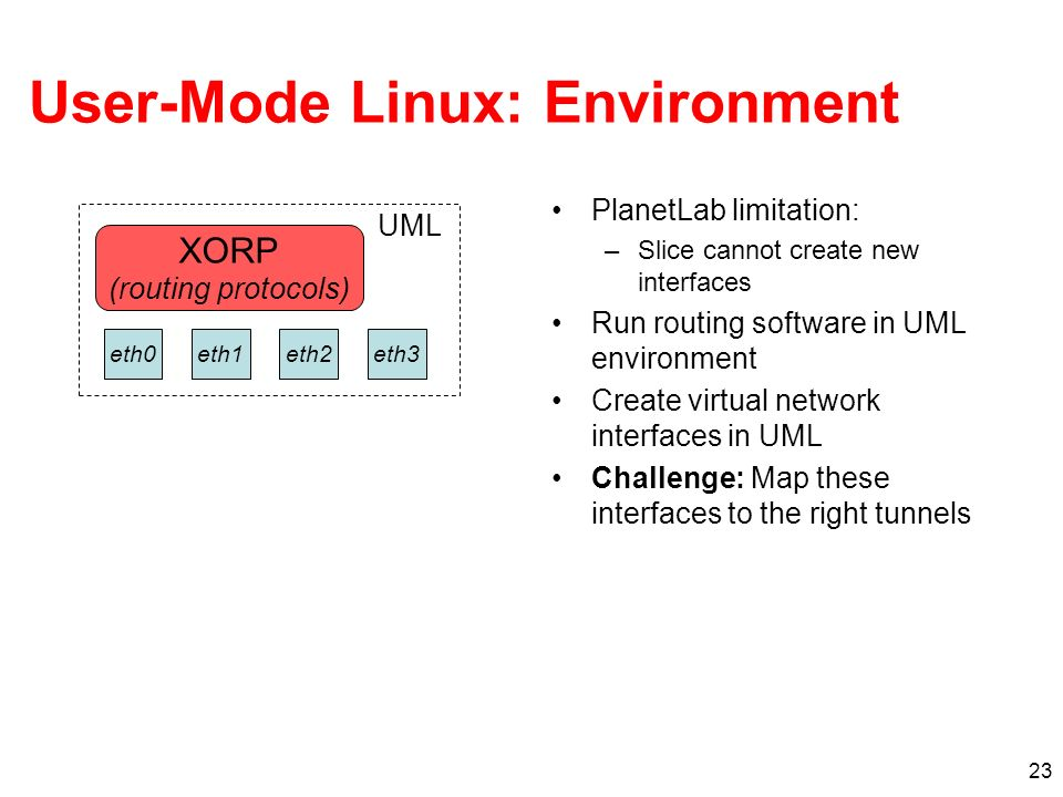 23 User-Mode Linux: Environment PlanetLab limitation: –Slice cannot create new interfaces Run routing software in UML environment Create virtual network interfaces in UML Challenge: Map these interfaces to the right tunnels XORP (routing protocols) UML eth1eth3eth2eth0