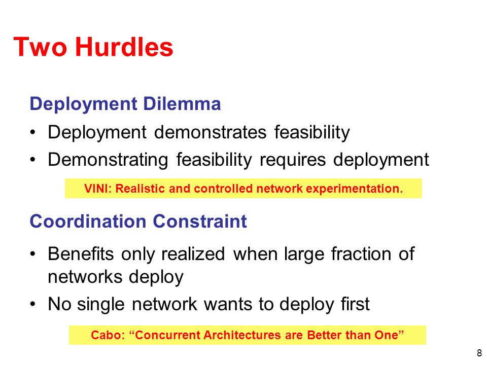 8 Two Hurdles Deployment demonstrates feasibility Demonstrating feasibility requires deployment Deployment Dilemma Coordination Constraint Benefits only realized when large fraction of networks deploy No single network wants to deploy first VINI: Realistic and controlled network experimentation.