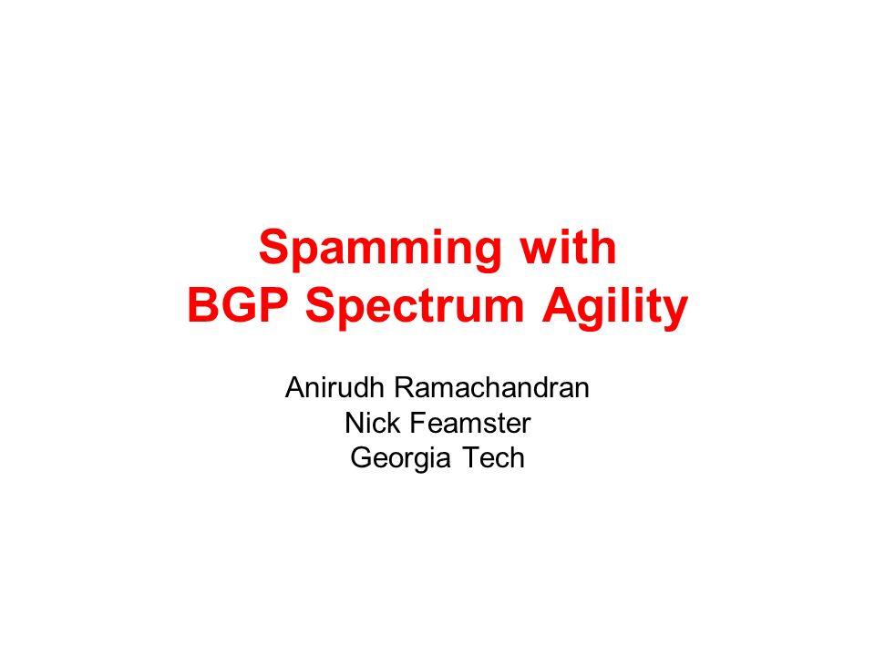Spamming with BGP Spectrum Agility Anirudh Ramachandran Nick Feamster Georgia Tech