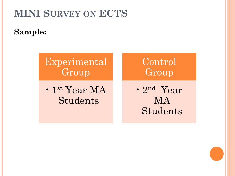 MINI S URVEY ON ECTS Sample: Experimental Group 1 st Year MA Students Control Group 2 nd Year MA Students