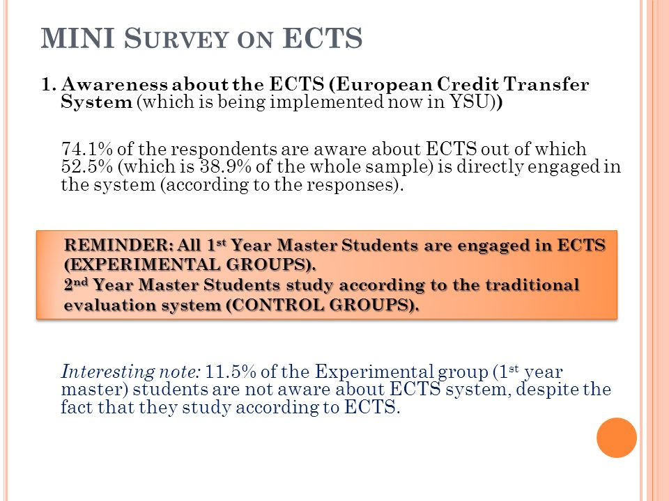 MINI S URVEY ON ECTS 1. Awareness about the ECTS (European Credit Transfer System (which is being implemented now in YSU) ) 74.1% of the respondents a