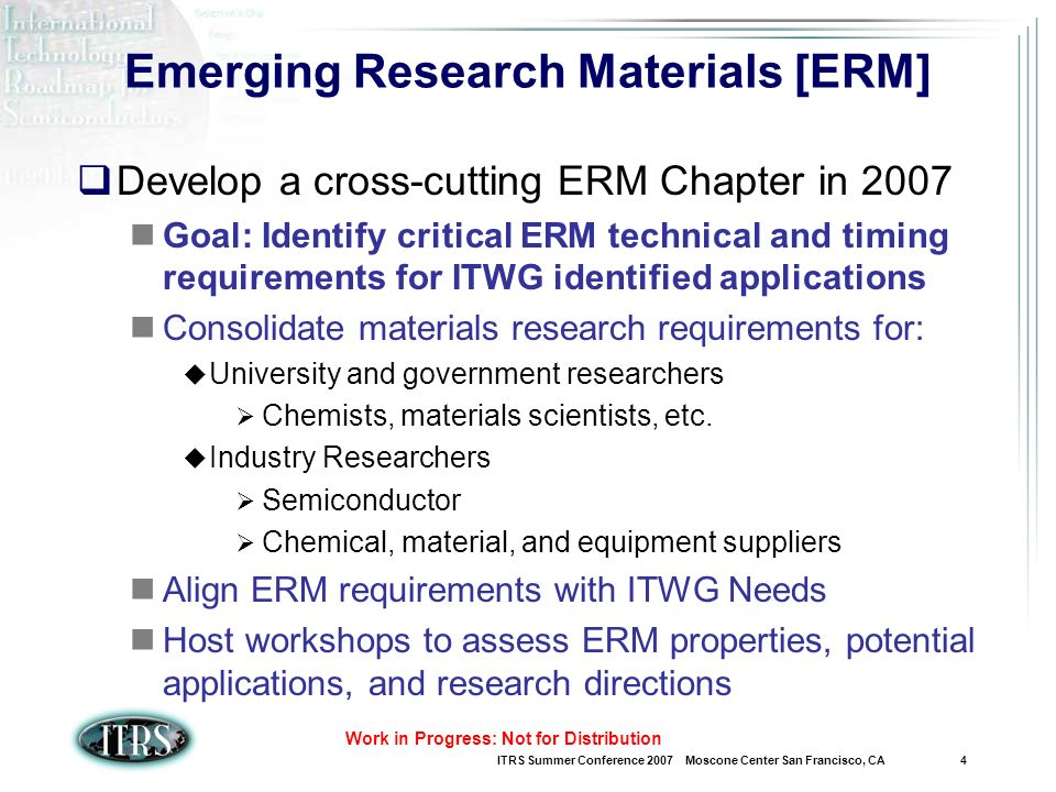 ITRS Summer Conference 2007 Moscone Center San Francisco, CA 5 Work in Progress: Not for Distribution Low Dimensional Materials Table (1/4)