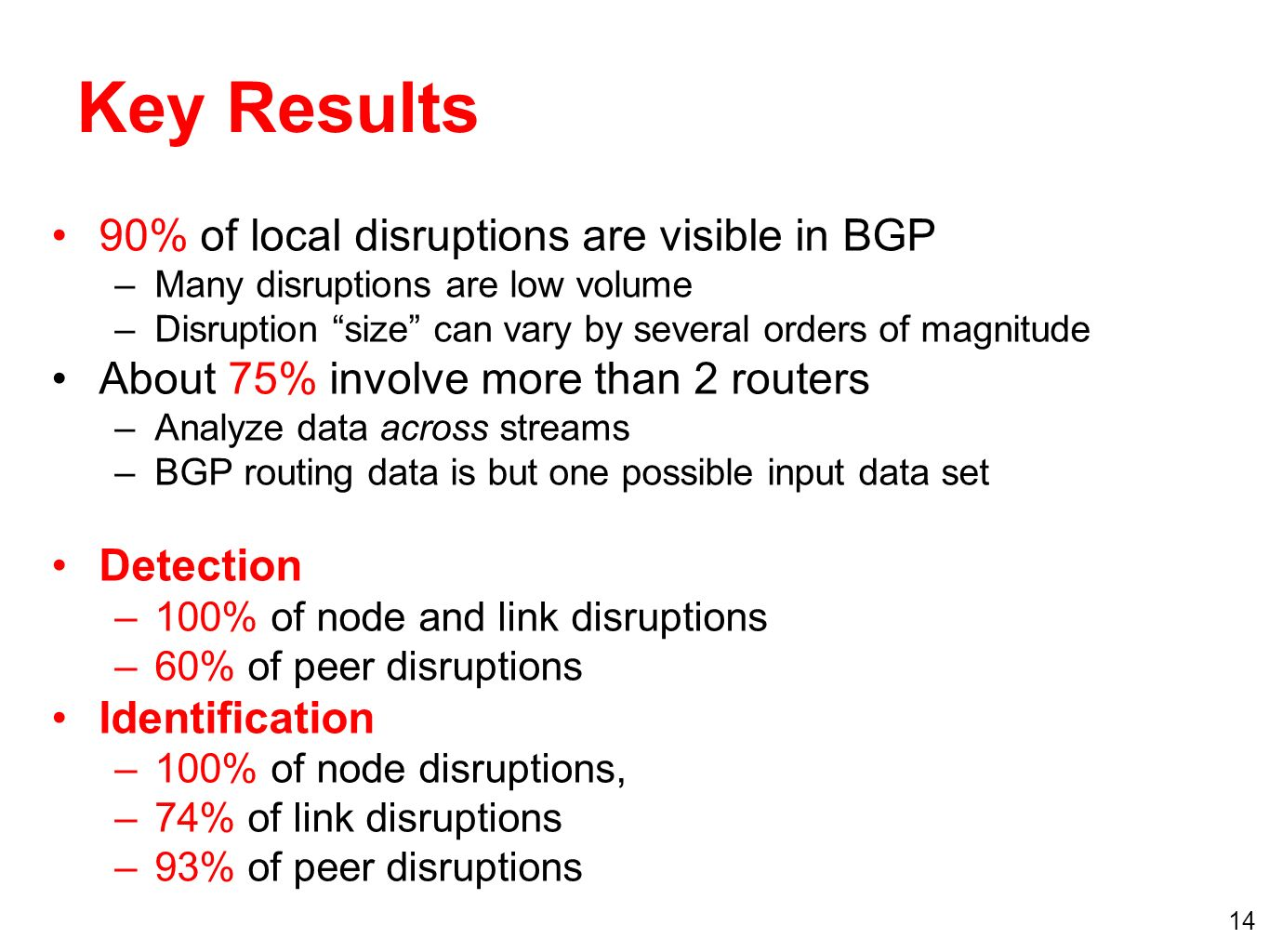 14 Key Results 90% of local disruptions are visible in BGP –Many disruptions are low volume –Disruption size can vary by several orders of magnitude About 75% involve more than 2 routers –Analyze data across streams –BGP routing data is but one possible input data set Detection –100% of node and link disruptions –60% of peer disruptions Identification –100% of node disruptions, –74% of link disruptions –93% of peer disruptions