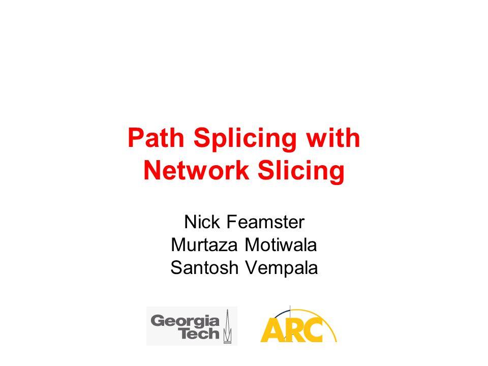 Path Splicing with Network Slicing Nick Feamster Murtaza Motiwala Santosh Vempala