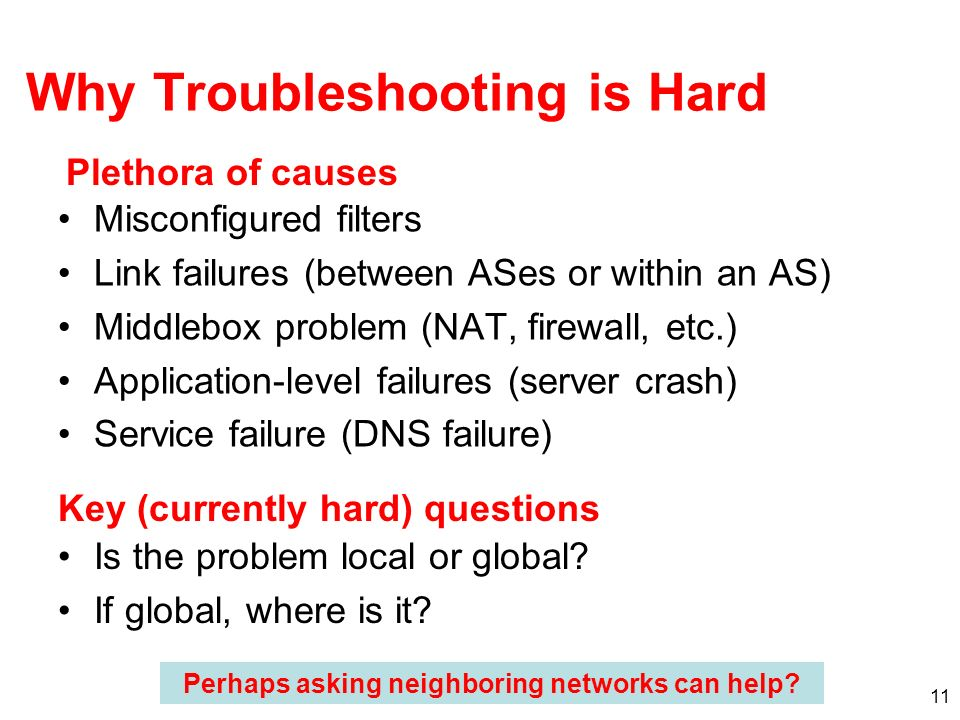 11 Why Troubleshooting is Hard Misconfigured filters Link failures (between ASes or within an AS) Middlebox problem (NAT, firewall, etc.) Application-level failures (server crash) Service failure (DNS failure) Plethora of causes Key (currently hard) questions Is the problem local or global.