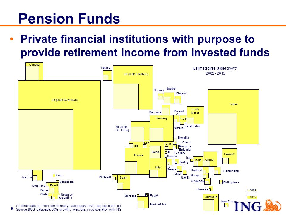 9 Pension Funds Private financial institutions with purpose to provide retirement income from invested funds