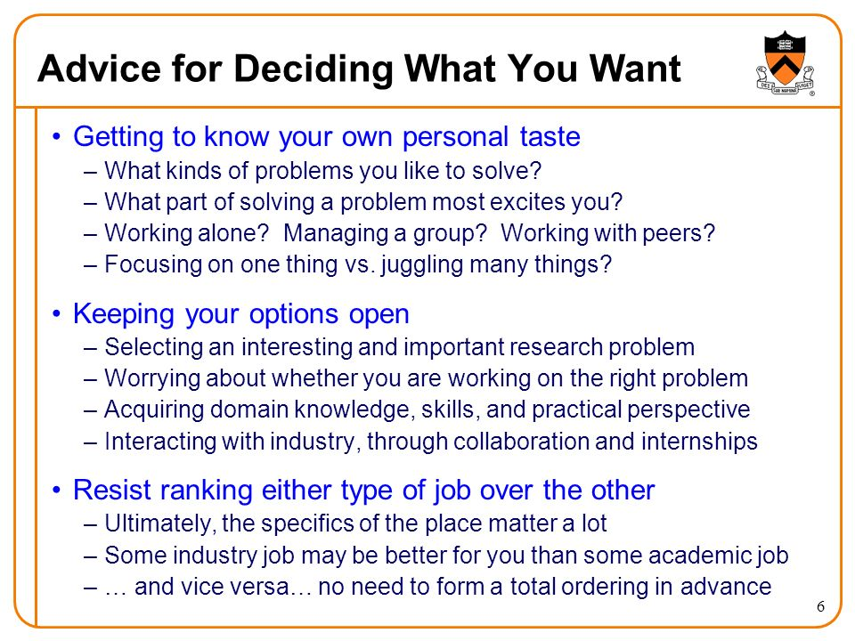 6 Advice for Deciding What You Want Getting to know your own personal taste –What kinds of problems you like to solve? –What part of solving a problem