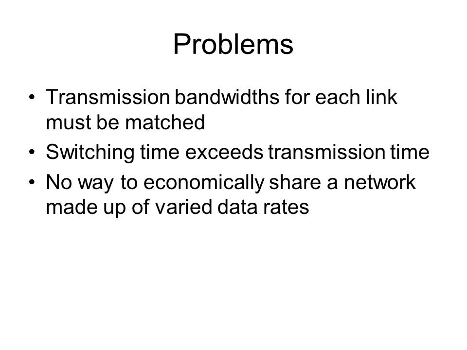 Problems Transmission bandwidths for each link must be matched Switching time exceeds transmission time No way to economically share a network made up of varied data rates