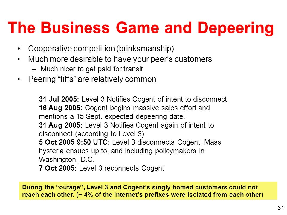 31 The Business Game and Depeering Cooperative competition (brinksmanship) Much more desirable to have your peers customers –Much nicer to get paid for transit Peering tiffs are relatively common 31 Jul 2005: Level 3 Notifies Cogent of intent to disconnect.