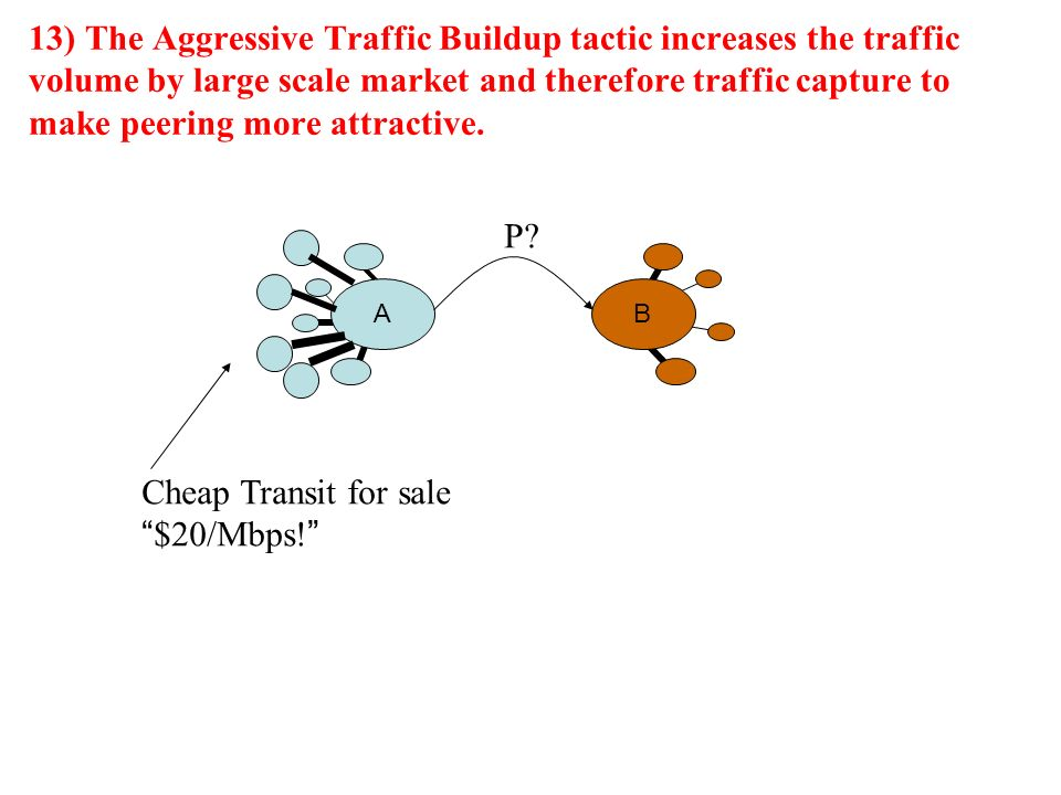 13) The Aggressive Traffic Buildup tactic increases the traffic volume by large scale market and therefore traffic capture to make peering more attractive.