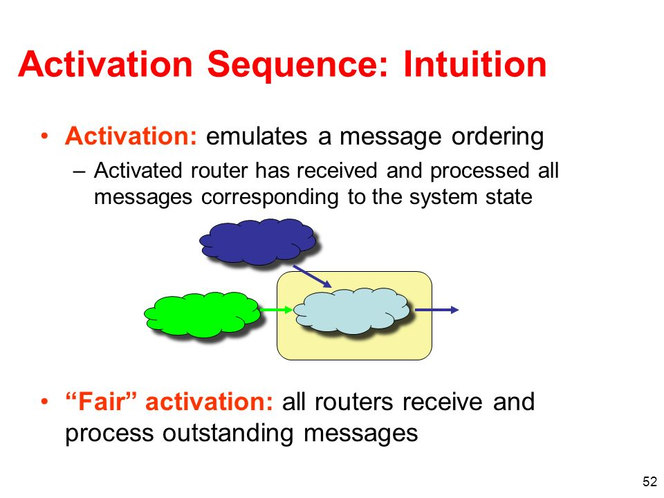 52 Activation Sequence: Intuition Activation: emulates a message ordering –Activated router has received and processed all messages corresponding to the system state Fair activation: all routers receive and process outstanding messages