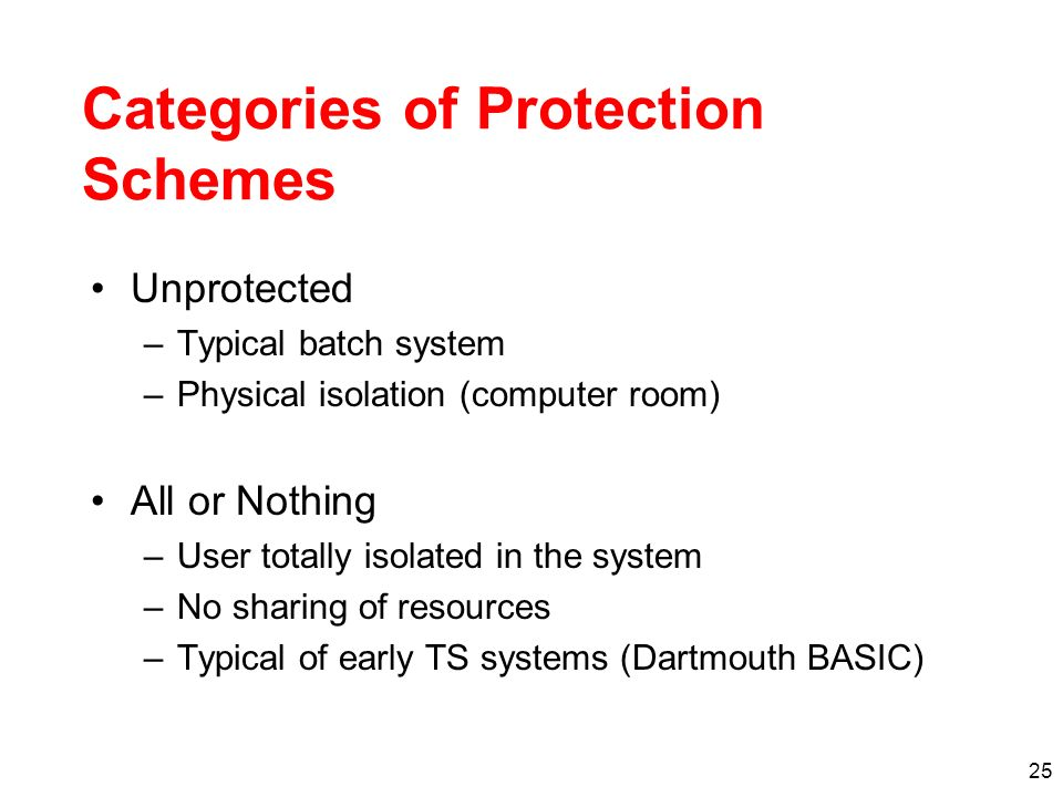 25 Categories of Protection Schemes Unprotected –Typical batch system –Physical isolation (computer room) All or Nothing –User totally isolated in the