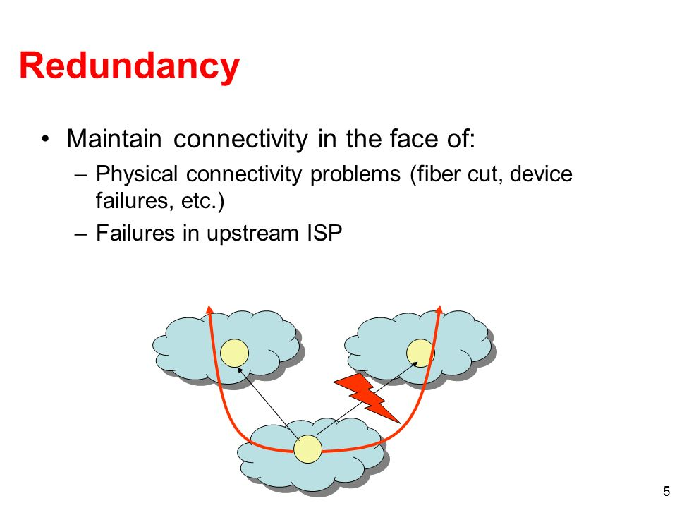 5 Redundancy Maintain connectivity in the face of: –Physical connectivity problems (fiber cut, device failures, etc.) –Failures in upstream ISP