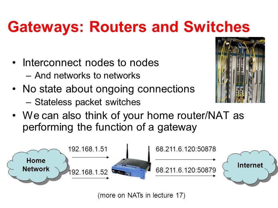 Gateways: Routers and Switches Interconnect nodes to nodes –And networks to networks No state about ongoing connections –Stateless packet switches We can also think of your home router/NAT as performing the function of a gateway Home Network Internet : :50879 (more on NATs in lecture 17)