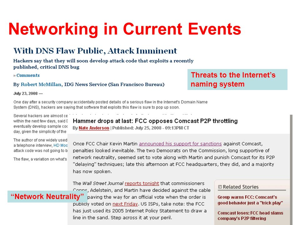 Networking in Current Events Threats to the Internets naming system Network Neutrality