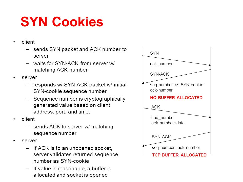 SYN Cookies client –sends SYN packet and ACK number to server –waits for SYN-ACK from server w/ matching ACK number server –responds w/ SYN-ACK packet w/ initial SYN-cookie sequence number –Sequence number is cryptographically generated value based on client address, port, and time.