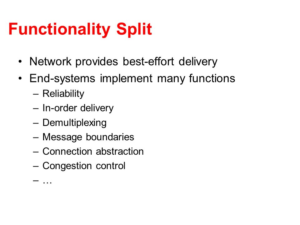 Functionality Split Network provides best-effort delivery End-systems implement many functions –Reliability –In-order delivery –Demultiplexing –Messag