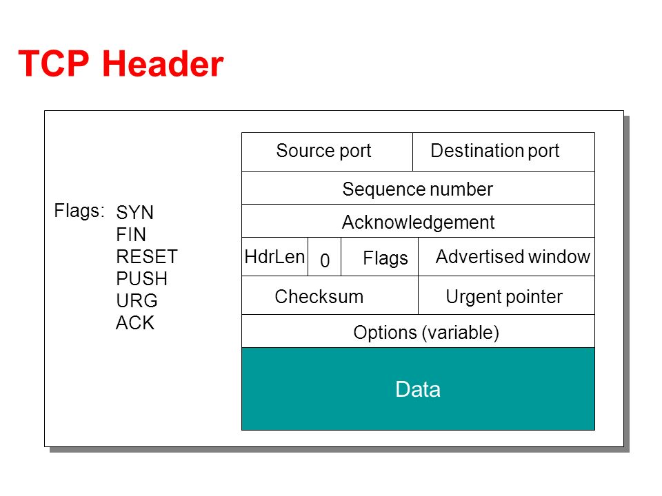 TCP Header Source portDestination port Sequence number Acknowledgement Advertised windowHdrLen Flags 0 ChecksumUrgent pointer Options (variable) Data Flags: SYN FIN RESET PUSH URG ACK